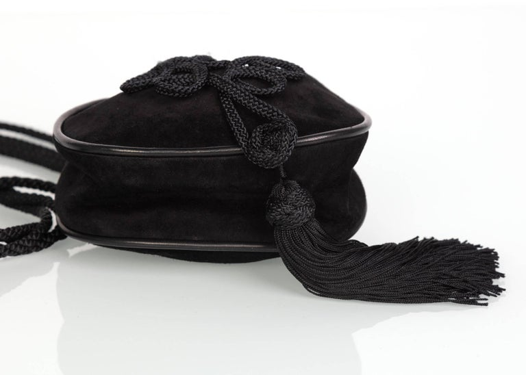 Black Yves Saint Laurent Russian Collection Documented Suede Leather Tassel Bag, 1990s For Sale