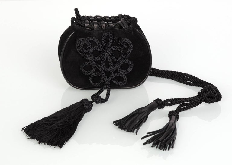 Yves Saint Laurent Russian Collection Documented Suede Leather Tassel Bag, 1990s For Sale 1