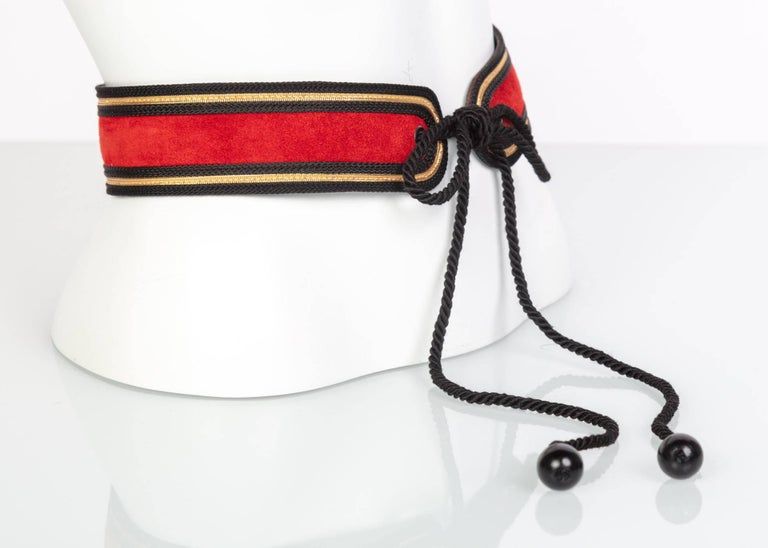 Women's Yves Saint Laurent YSL Russian Collection Red suede Black Gold belt, 1970s   For Sale