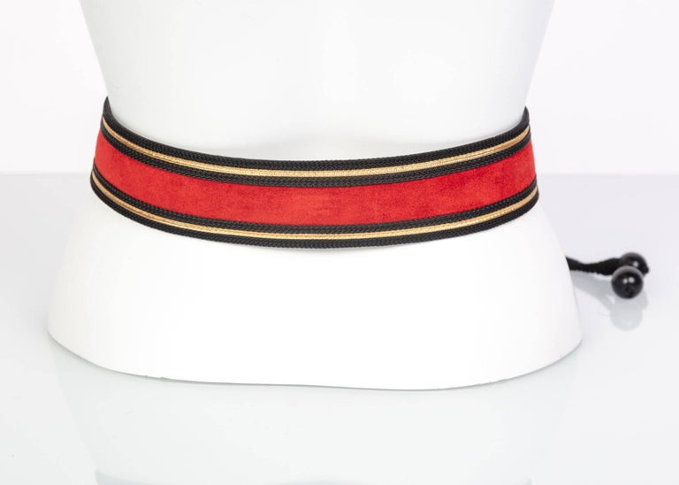 Yves Saint Laurent YSL Russian Collection Red suede Black Gold belt, 1970s   For Sale 1