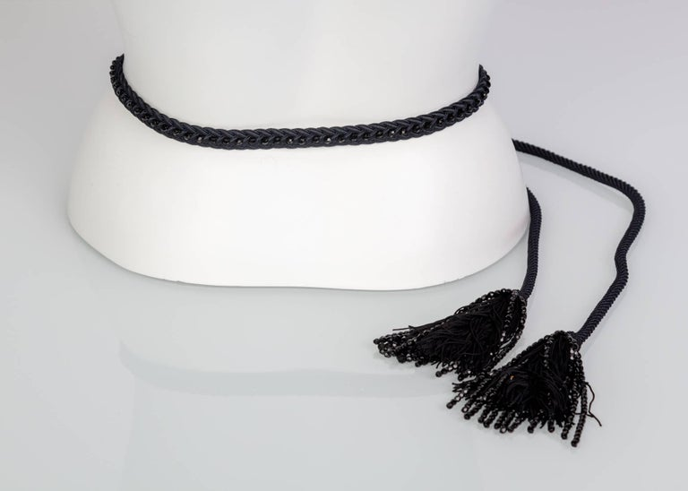 Yves Saint Laurent YSL Black Beaded Rope and Tassel Necklace Belt, 1990s  For Sale 1