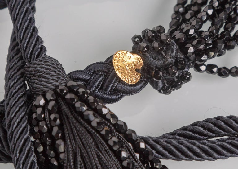 Yves Saint Laurent YSL Black Beaded Rope and Tassel Necklace Belt, 1990s  For Sale 3