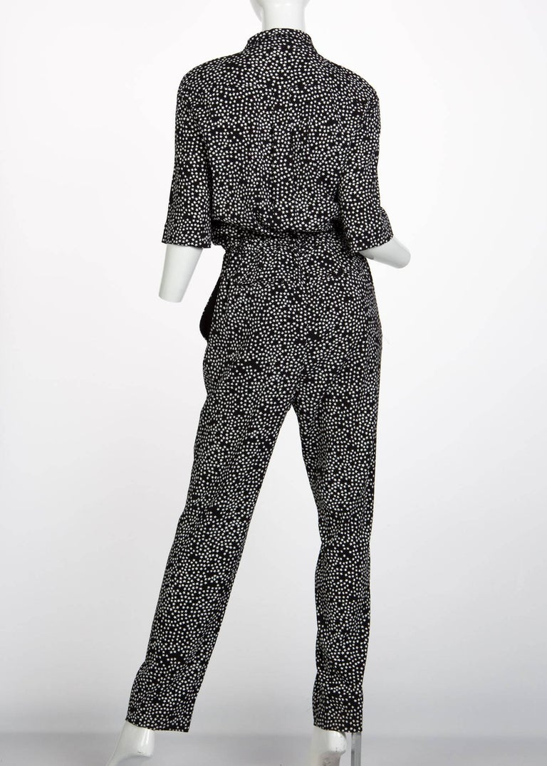 Sonia Rykiel Black and White Star Printed Drawstring Jumpsuit, 2015  For Sale 2