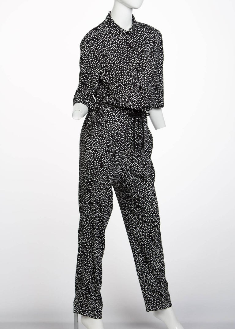 Sonia Rykiel Black and White Star Printed Drawstring Jumpsuit, 2015  For Sale 3
