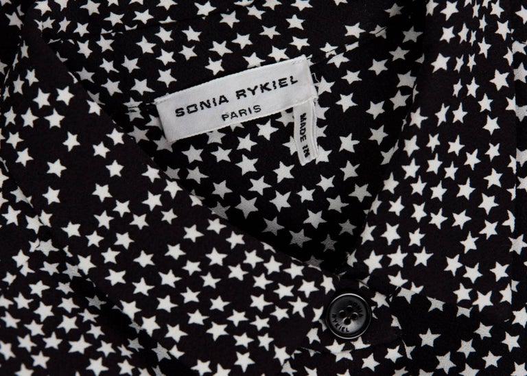 Sonia Rykiel Black and White Star Printed Drawstring Jumpsuit, 2015  For Sale 6