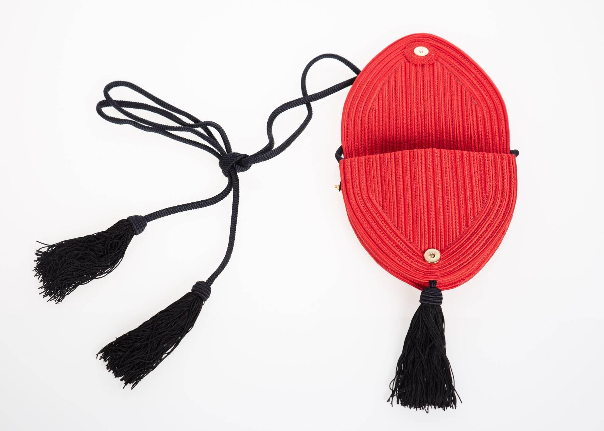 Saint Laurent Red Heart Black Passementerie Tassel Bag, 1980s