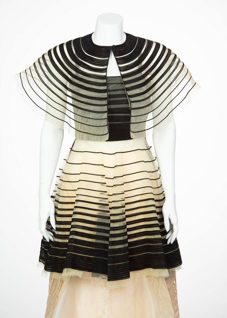 Fendi Runway Black Cut Out Suede Three Piece Dress Cape Skirt Set, 2008  For Sale 3