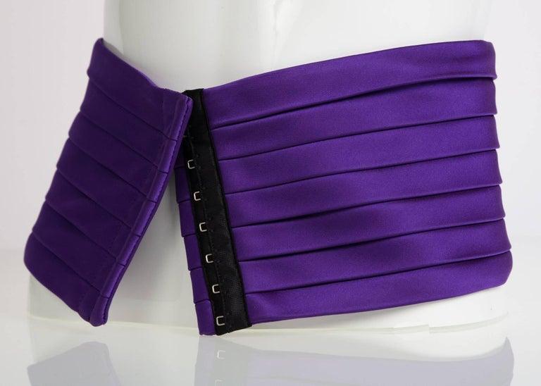 1970s Yves Saint Laurent Purple Pleated Silk Wide Cummerbund Belt In Excellent Condition For Sale In Boca Raton, FL