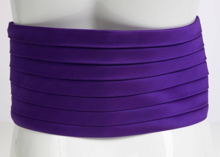 Women's 1970s Yves Saint Laurent Purple Pleated Silk Wide Cummerbund Belt For Sale