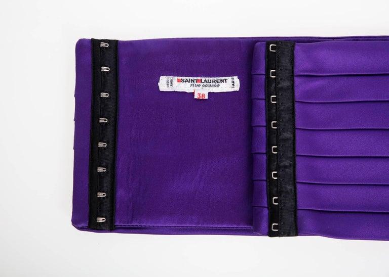 1970s Yves Saint Laurent Purple Pleated Silk Wide Cummerbund Belt For Sale 1