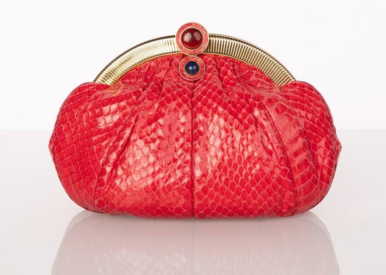 Women's Vintage Judith Leiber Red Snake Skin Clutch Bag For Sale