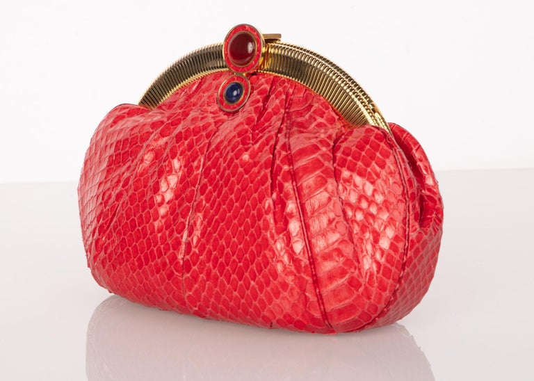 Vintage Judith Leiber Red Snake Skin Clutch Bag For Sale 1