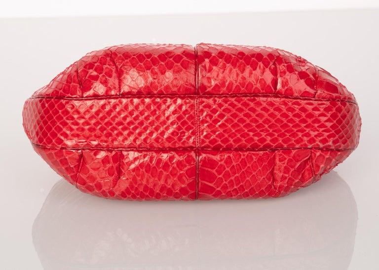 Vintage Judith Leiber Red Snake Skin Clutch Bag For Sale 2