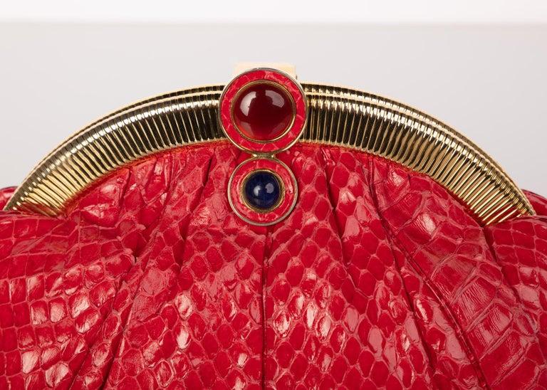 Vintage Judith Leiber Red Snake Skin Clutch Bag For Sale 3