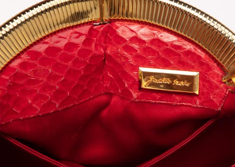 Vintage Judith Leiber Red Snake Skin Clutch Bag For Sale 4