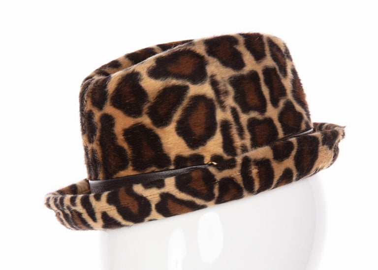 1970s Yves Saint Laurent Leopard Animal Print Hat YSL In Excellent Condition For Sale In Boca Raton, FL
