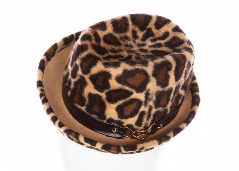 Women's 1970s Yves Saint Laurent Leopard Animal Print Hat YSL For Sale