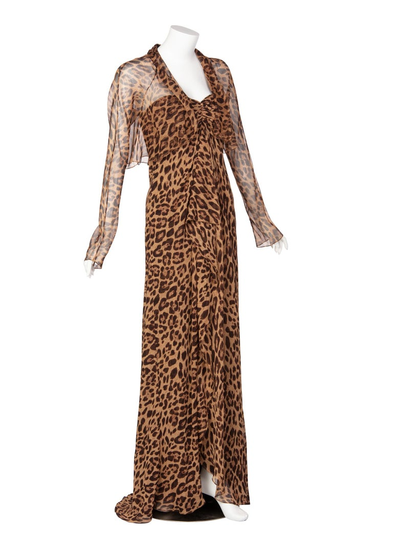 Brown Pamella Roland Silk Leopard Print Strapless Evening Gown and Shawl For Sale