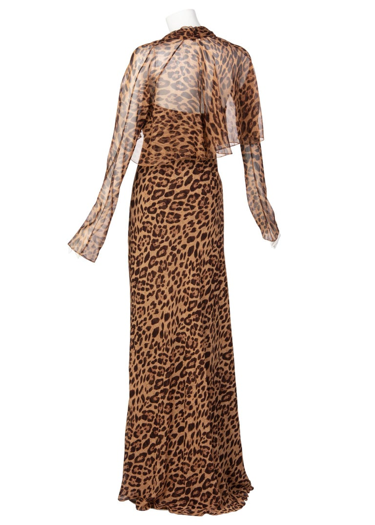 Women's Pamella Roland Silk Leopard Print Strapless Evening Gown and Shawl For Sale
