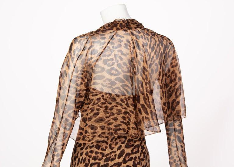 Pamella Roland Silk Leopard Print Strapless Evening Gown and Shawl For Sale 5