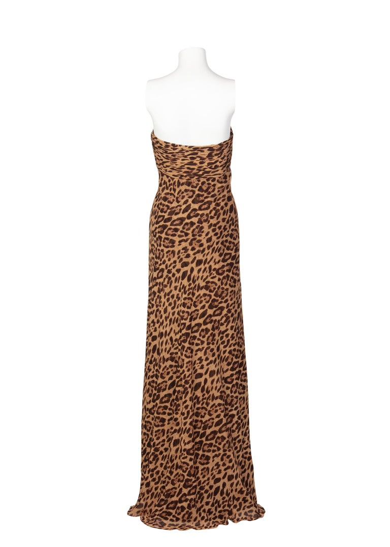 Pamella Roland Silk Leopard Print Strapless Evening Gown and Shawl For Sale 1
