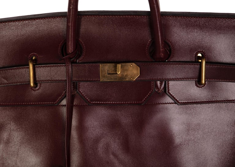 690df420e7a Black Hermes Bonwit Teller Vintage Burgundy Travel Birkin Bag, 1970s For  Sale