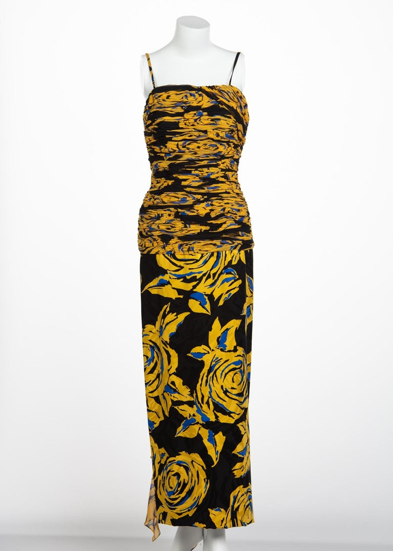 Brown Valentino Yellow Floral Print Draped Black Silk Fishtail Gown Shawl, 1970s For Sale