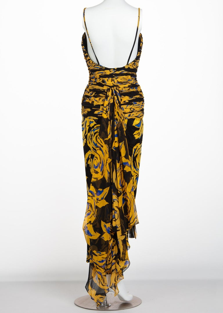 Women's Valentino Yellow Floral Print Draped Black Silk Fishtail Gown Shawl, 1970s For Sale