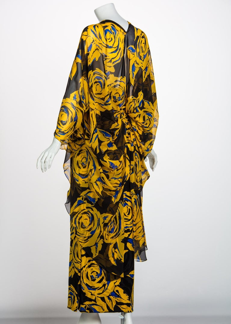 Valentino Yellow Floral Print Draped Black Silk Fishtail Gown Shawl, 1970s For Sale 1
