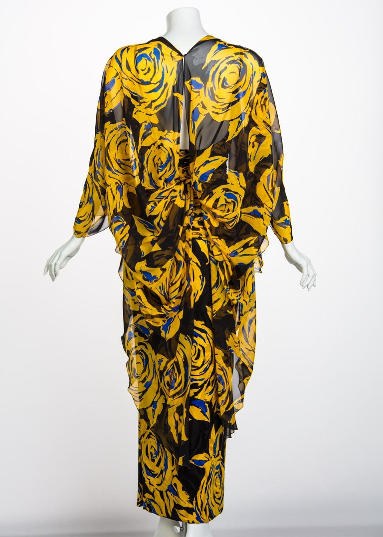 Valentino Yellow Floral Print Draped Black Silk Fishtail Gown Shawl, 1970s For Sale 2