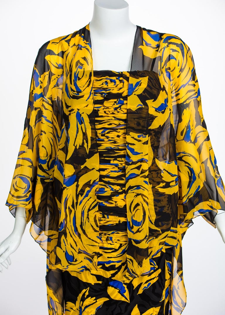 Valentino Yellow Floral Print Draped Black Silk Fishtail Gown Shawl, 1970s For Sale 3