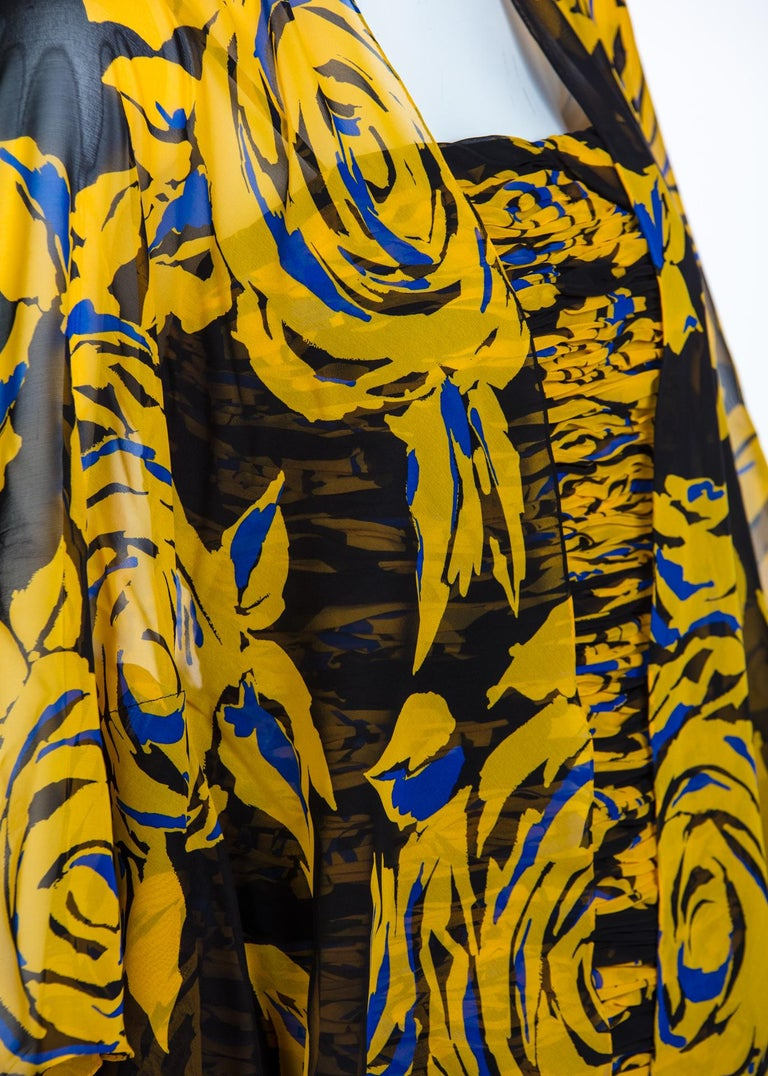 Valentino Yellow Floral Print Draped Black Silk Fishtail Gown Shawl, 1970s For Sale 4
