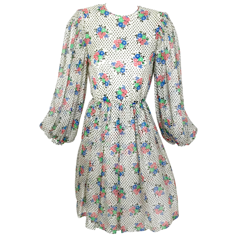 Galanos Floral Dot print Billow Sleeve Cut-Out Silk Cocktail Dress, 1970s