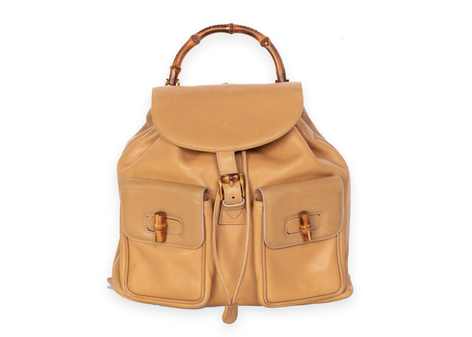 a244aa8a7508 Gucci Vintage Leather and Bamboo Handle Backpack For Sale at 1stdibs