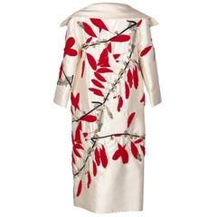 Vintage Valentino Ivory Silk Red Leaves Beaded  Long Evening Coat