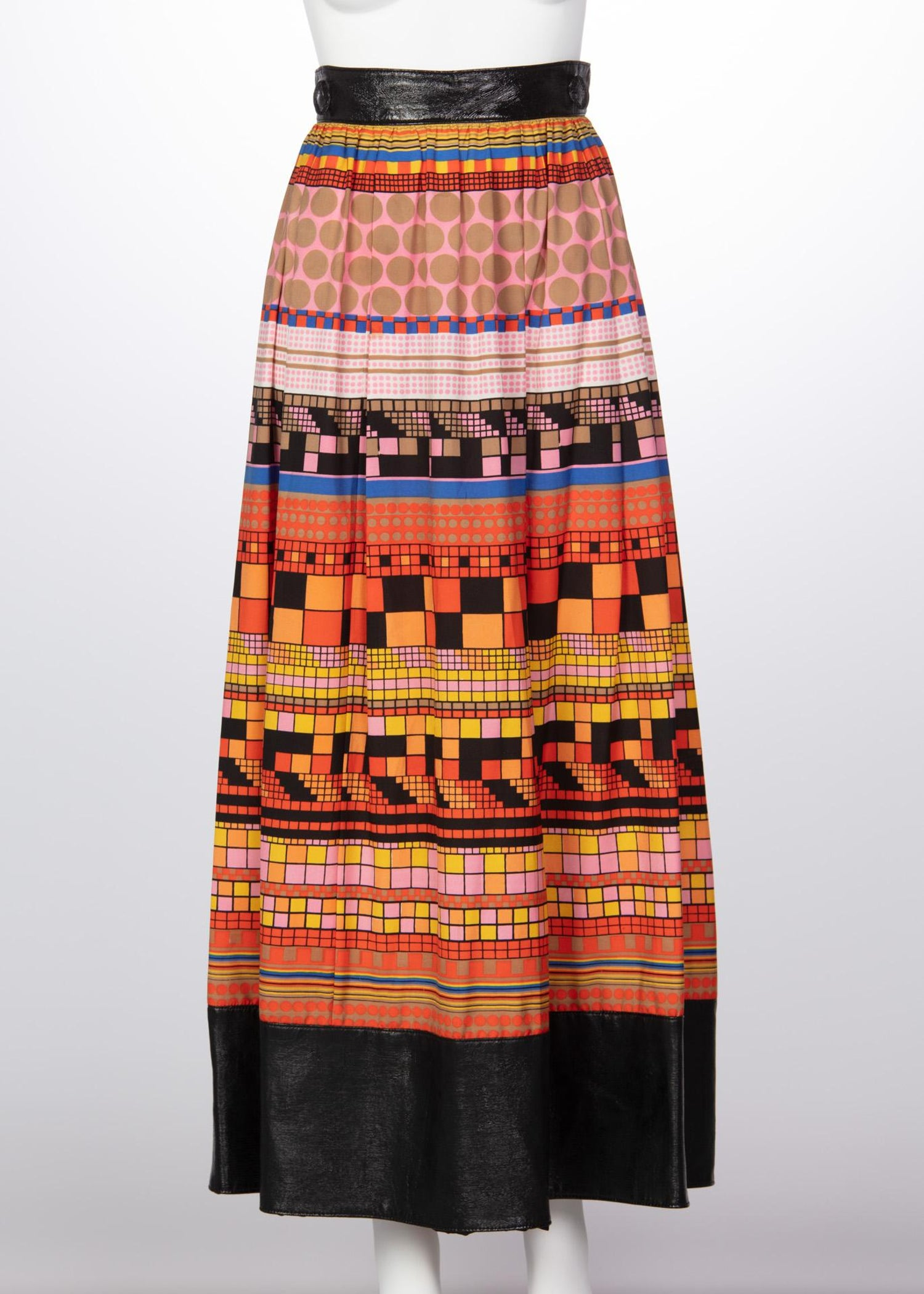 9ddd6ac0a50 1970s Lanvin Multicolored Geometric Print Leather Trim Maxi Skirt For Sale  at 1stdibs