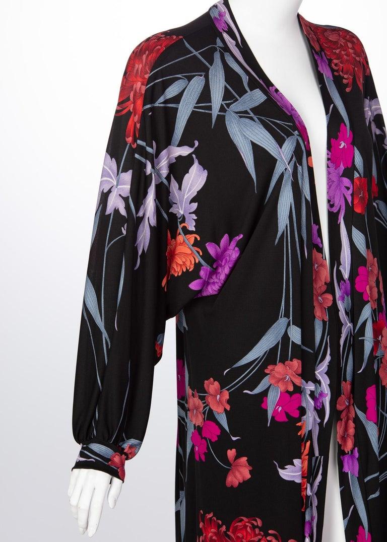 1970s Leonard Paris Floral Silk Jersey Dress Jacket In Excellent Condition For Sale In Boca Raton, FL