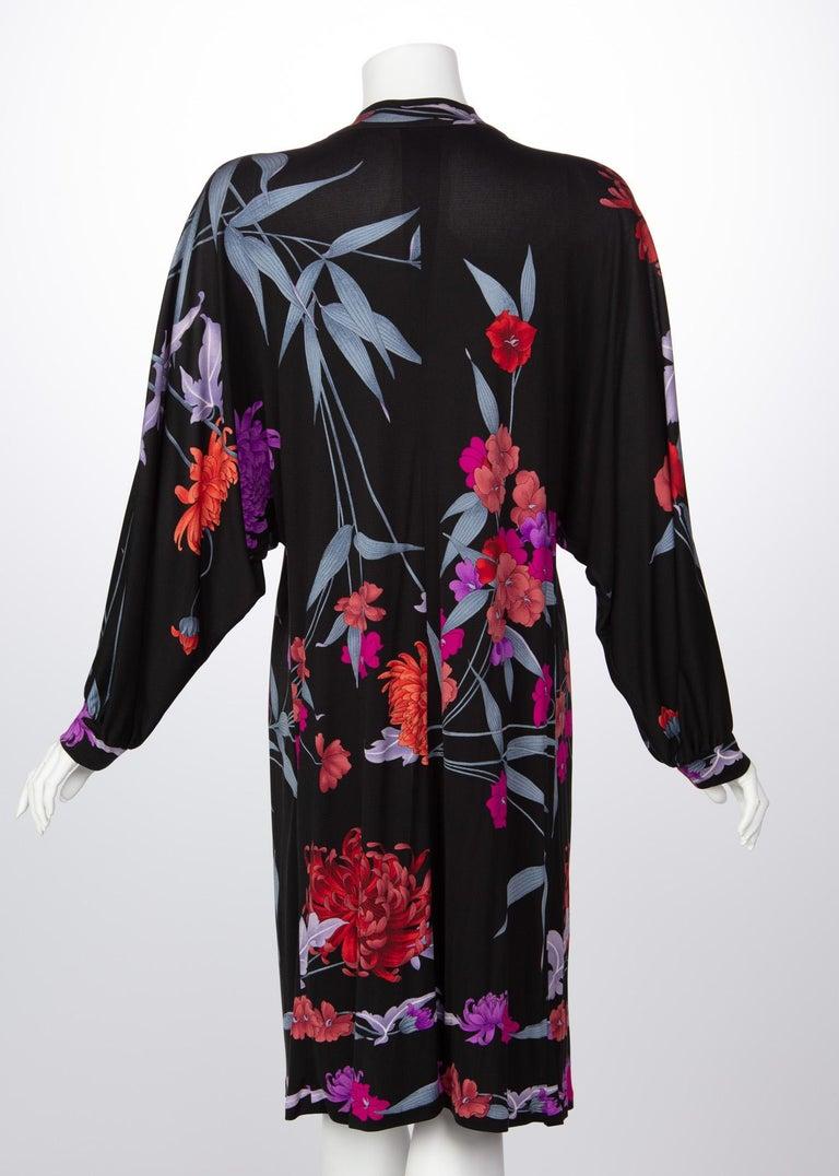1970s Leonard Paris Floral Silk Jersey Dress Jacket For Sale 1