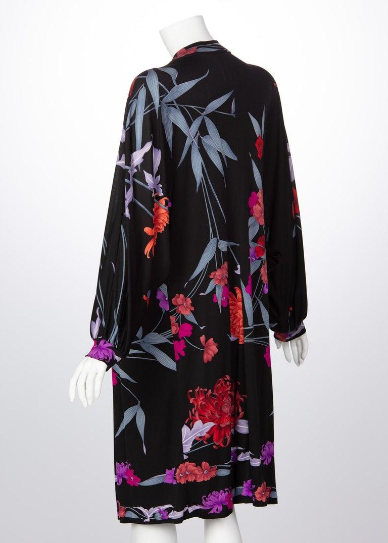 1970s Leonard Paris Floral Silk Jersey Dress Jacket For Sale 2