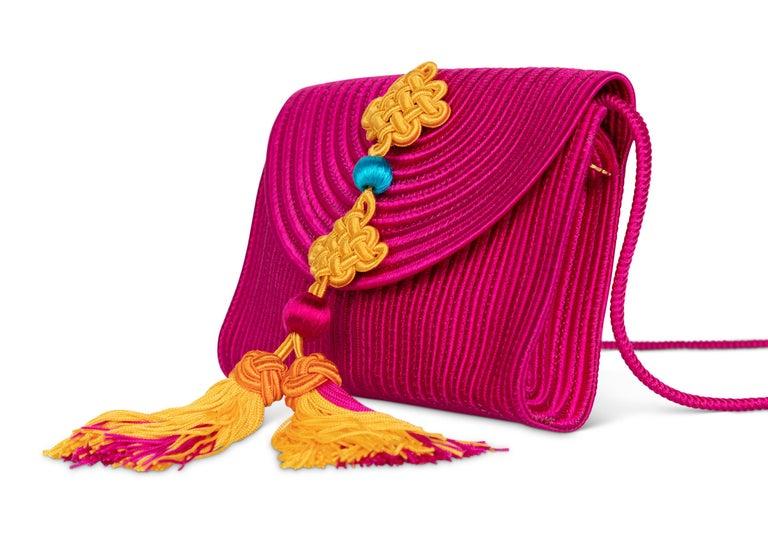 Red Yves Saint Laurent YSL Pink Passementerie Yellow Tassel Shoulder Bag ,1990s For Sale