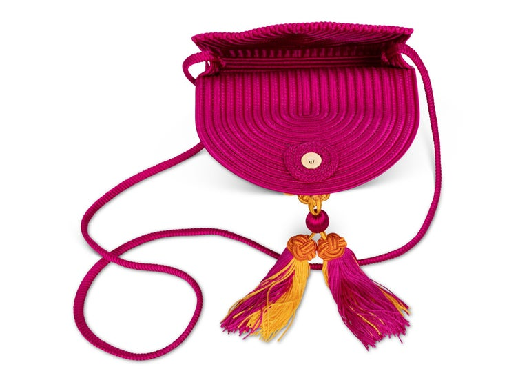 fd939d3e07fd Women s Yves Saint Laurent YSL Pink Passementerie Yellow Tassel Shoulder Bag