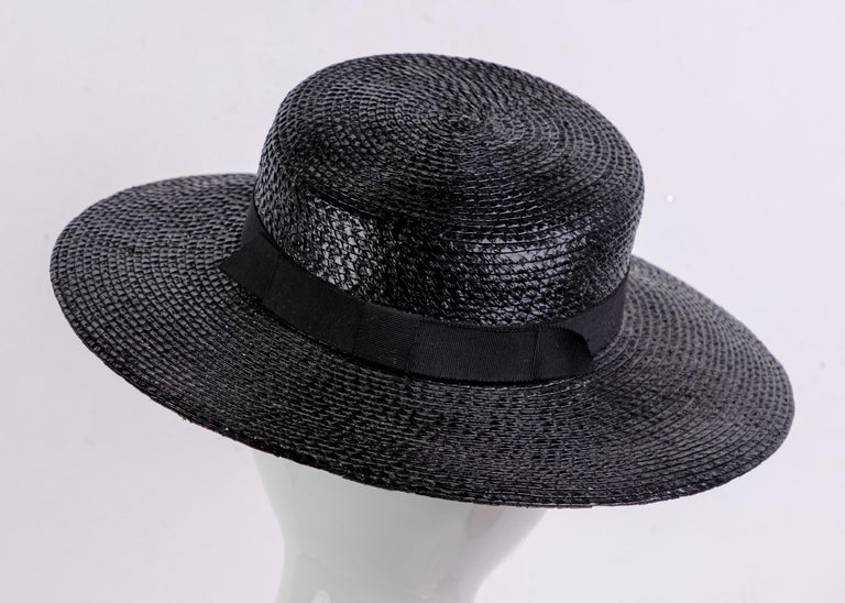 Yves Saint Laurent YSL Vintage Glossy Black Straw Hat, 1980s In Excellent Condition For Sale In Boca Raton, FL