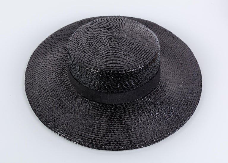 Women's Yves Saint Laurent YSL Vintage Glossy Black Straw Hat, 1980s For Sale