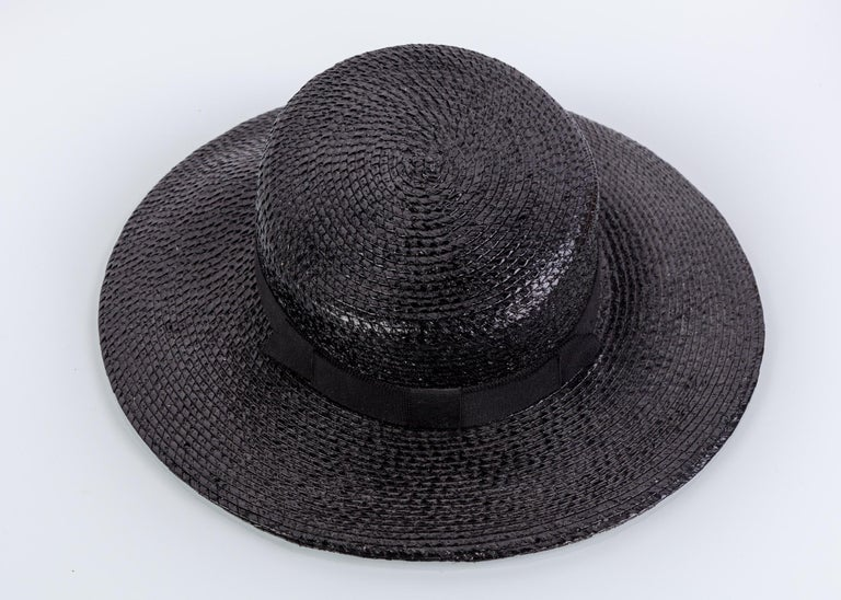 Yves Saint Laurent YSL Vintage Glossy Black Straw Hat, 1980s For Sale 1