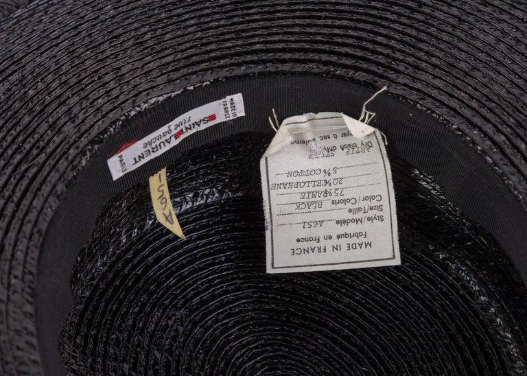 Yves Saint Laurent YSL Vintage Glossy Black Straw Hat, 1980s For Sale 2