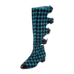 Chanel Boots Turquoise Tweed Black Patent Leather Buckle Runway Size 37, 2007