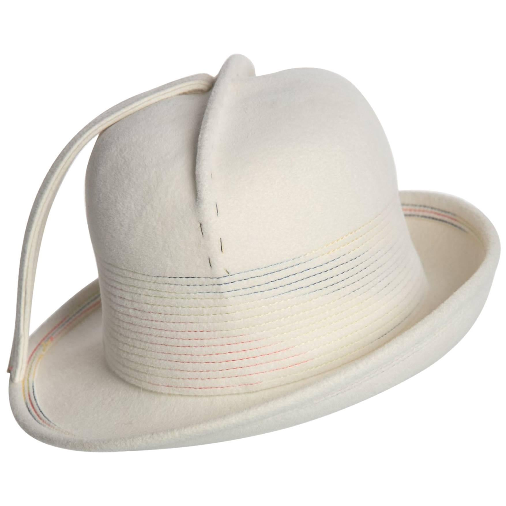 1960s Yves Saint Laurent YSL Sculpted Ivory Felt Fedora Hat