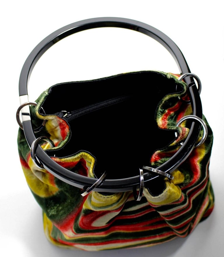 3c497841202d Gucci by Tom Ford Runway Psychedelic Swirl Silk Velvet Hoop Bucket Bag,  1990s In Excellent