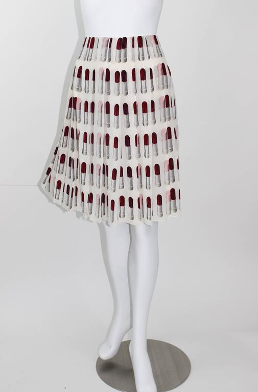 Women's Prada Runway Lipstick  Print Skirt Rare & Collectable For Sale
