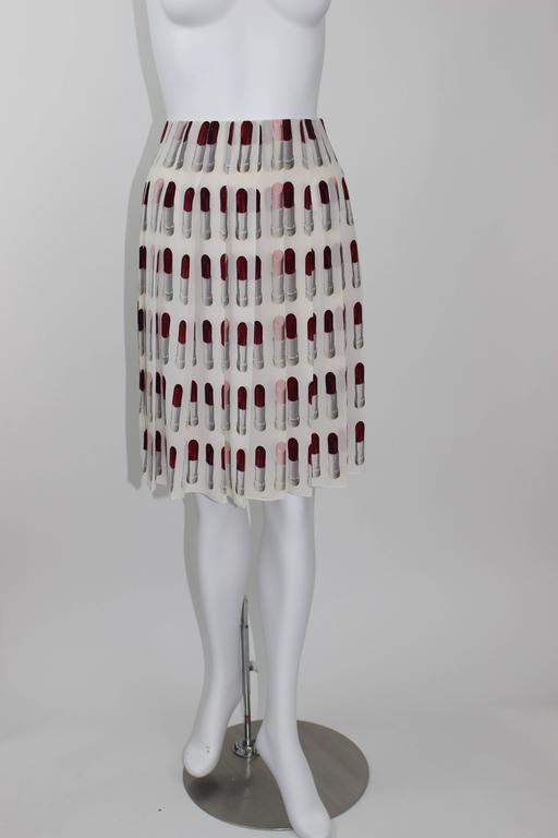 Prada Runway Lipstick  Print Skirt Rare & Collectable 5